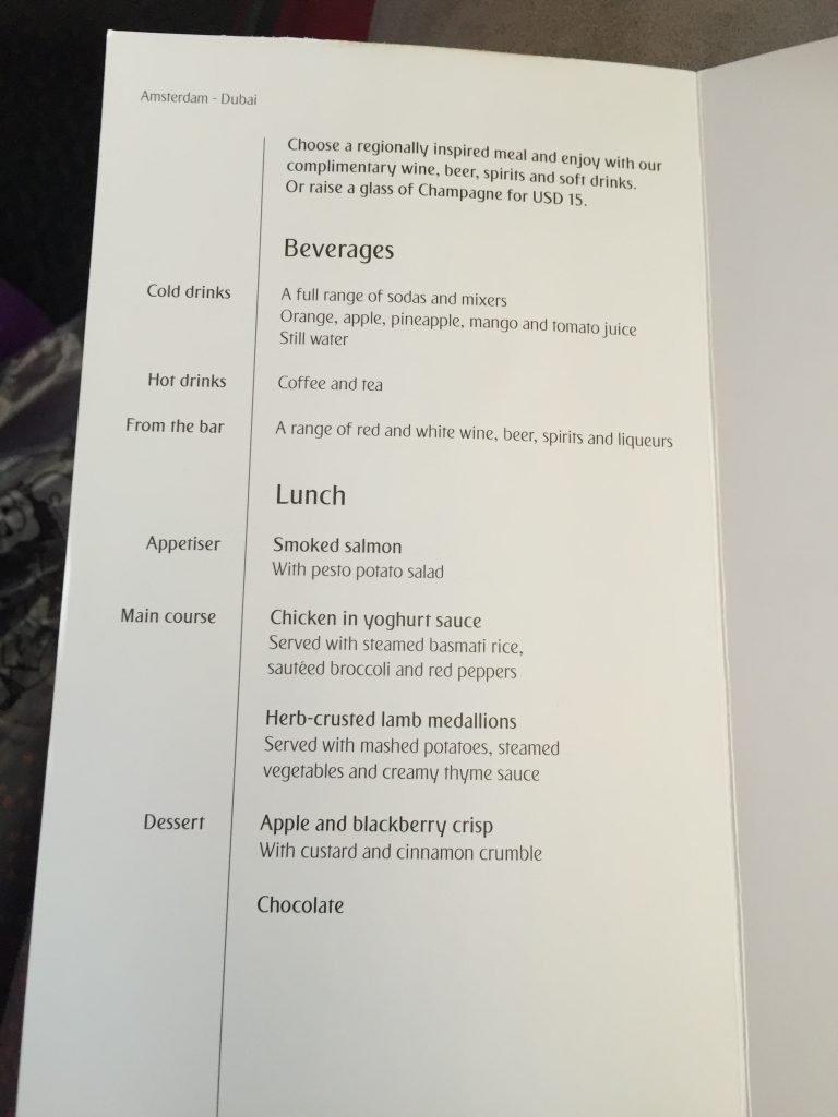 Menukaart van Emirates